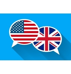 Two white speech bubbles with American and Great vector image