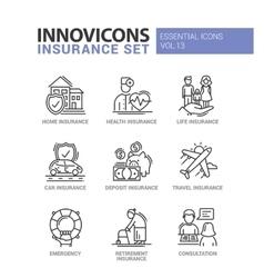 Types insurance line design icons set vector