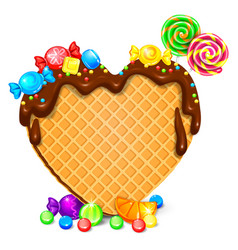 waffle heart with chocolate and sweets blank vector image