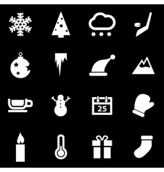 white winter icons set vector image