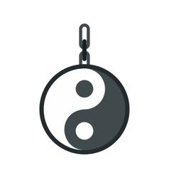 Yin yang amulet icon flat style vector