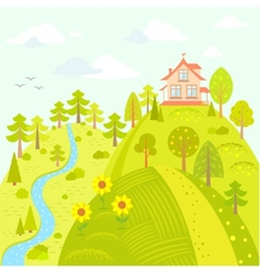 house on the hill vector image vector image