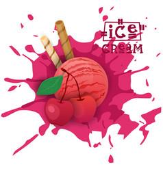 ice cream cherry ball fruit dessert choose your vector image vector image