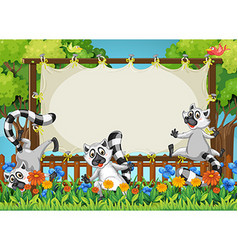 Lemurs and wooden frame template vector image vector image