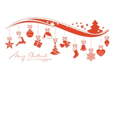 Red wavy border with hanging Christmas vector image