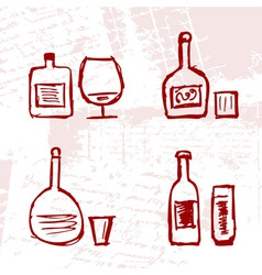Set of alcohols bottles and wineglasses on grunge vector image