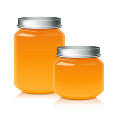 set of glass jar for honey jam jelly or baby vector image