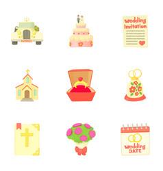 Marriage ceremony icons set cartoon style vector
