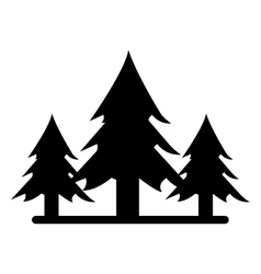 silhouette wild pines forest tree vector image