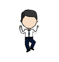Businessman line cartoon with formal clothes vector