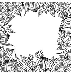 frame of black and white doodle leaves with vector image vector image