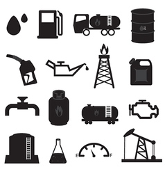 Fuel Oil and Gas Icons Set vector image vector image