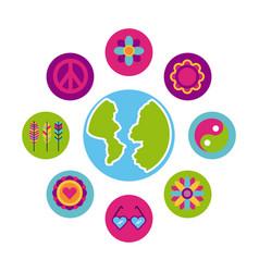 icons set hippie scenery cartoon world map vector image