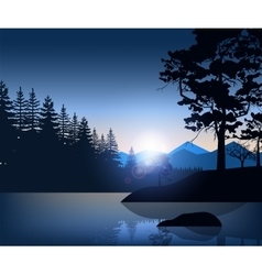 Nature backdrop of mountains and lake landscape vector image vector image