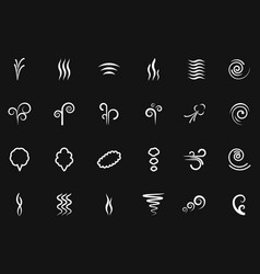 smoke wind simple icons on black backdrop vector image