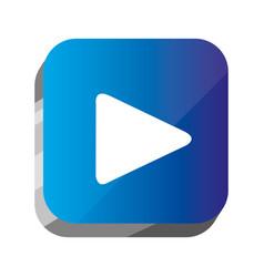 3d button play symbol icon vector image