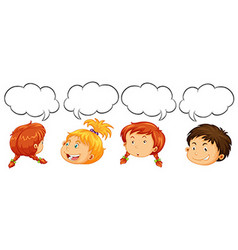 Boys and girls with speech bubble templates vector image