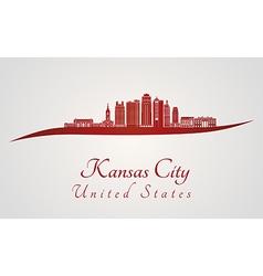 Kansas City V2 skyline in red vector image