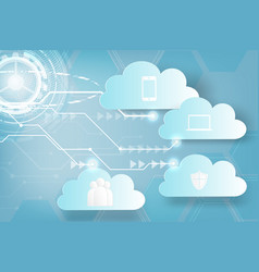 paper art of icon web cloud technology business vector image