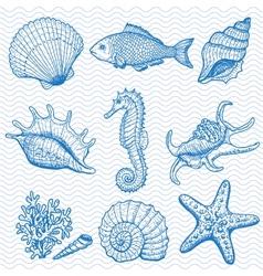 Sea hand drawn vector image vector image
