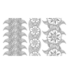 Set of three seamless pattern floral borders vector image vector image