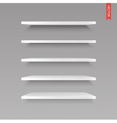 Set of wood shelves isolated on the wall vector