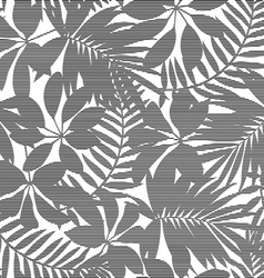 White and black striped tropical leaves seamless vector image vector image