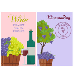wine of 100 premium quality promotional poster vector image vector image