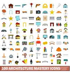 100 architecture mastery icons set flat style vector image