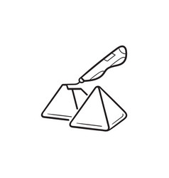 3d doodler pen and pyramids hand drawn outline vector image
