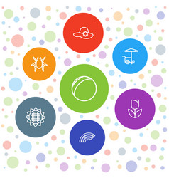 7 summer icons vector