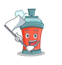 Aerosol spray can character cartoon with flag vector
