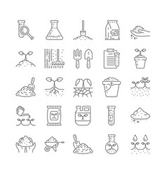 agriculture and soil line icon collection vector image