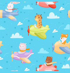Airplane pattern animal kid characters in vector