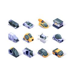 autonomous vehicles isometric icons set vector image