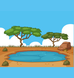 Background scene with pond in the field vector