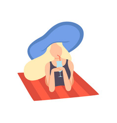 blonde girl in swimsuit and blue hat lying on vector image