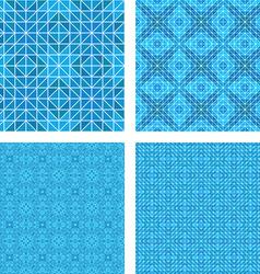 Blue mosaic floor design set vector