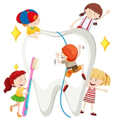 Boys and girls cleaning tooth vector image