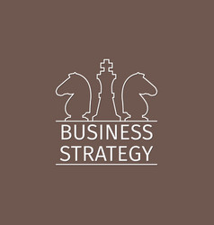 Business strategy logo with chess pieces vector