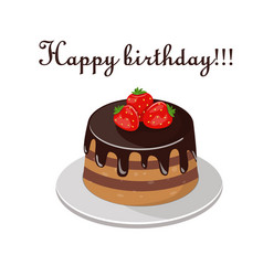 cake with fresh berries and chocolate isolated on vector image