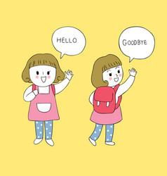 Cartoon cute student girl vector