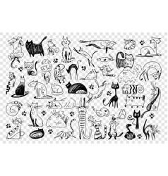 Cats hand drawn doodle set vector