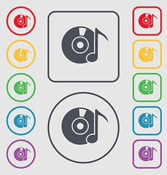 CD or DVD icon sign symbol on the Round and square vector image