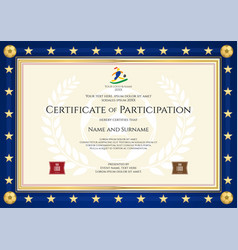 certificate of participation in sport theme vector image