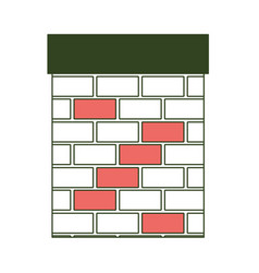 chimney in brick material on color section vector image