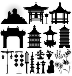 chinese asian temple shrine relic a set of vector image
