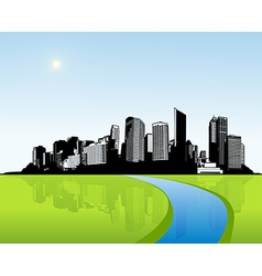 City with green grass art vector image