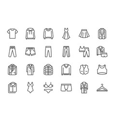 clothes fashion line icons vector image