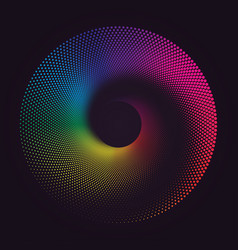 colorful round spiral abstract rainbow dots vector image